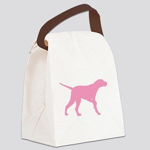 Pink Pointer Dog Canvas Lunch Bag