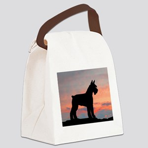 schnauzer sunset wd4 Canvas Lunch Bag