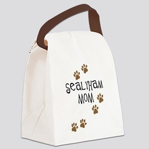 sealyham mom wh Canvas Lunch Bag
