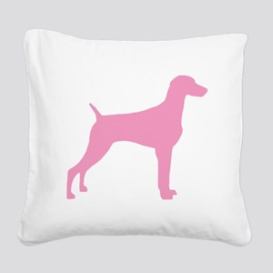 weimaraner pink.png Square Canvas Pillow