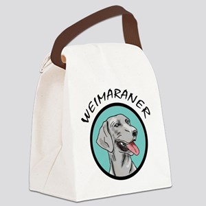 weimaraner head in teal circle Canvas Lunch Ba