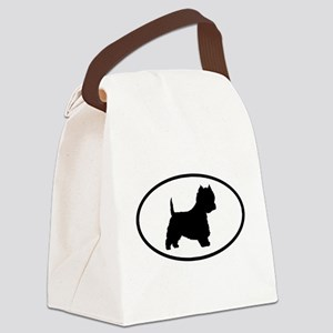 westie oval 6 Canvas Lunch Bag