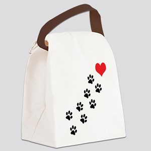 Paw Prints To My Heart Canvas Lunch Bag