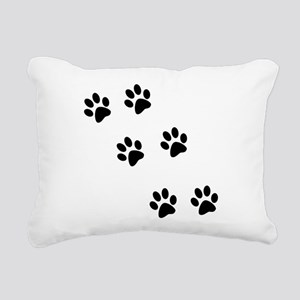 pawprints black Rectangular Canvas Pillow