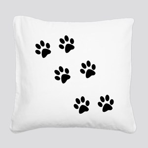 pawprints black Square Canvas Pillow