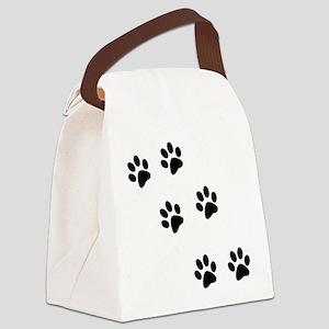 pawprints black Canvas Lunch Bag