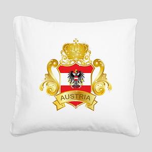 Gold Austria Square Canvas Pillow