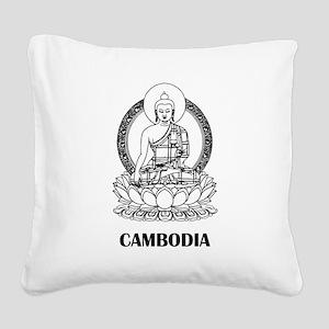 Cambodia Buddha Square Canvas Pillow