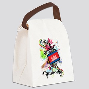 Flower Cambodia Canvas Lunch Bag