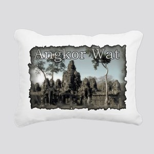 Vintage Angkor Wat Rectangular Canvas Pillow