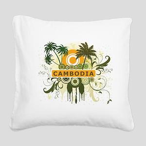 Palm Tree Cambodia Square Canvas Pillow