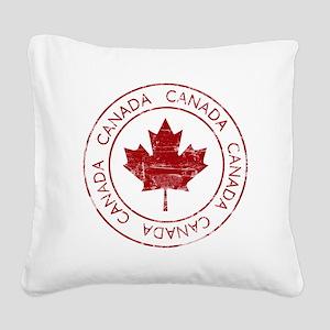 Vintage Canada Square Canvas Pillow