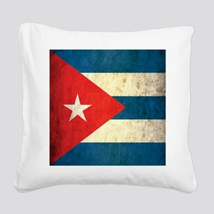 Grunge Cuba Flag Square Canvas Pillow