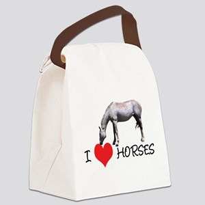 i heart horses white horse Canvas Lunch Bag