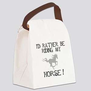 id rather be riding my horse  Canvas Lunch Bag