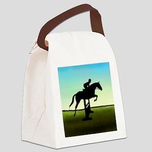 Hunter Jumper Grassy Field Canvas Lunch Bag