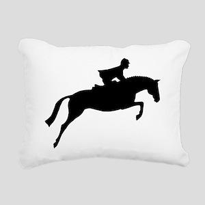 jumper rider white Rectangular Canvas Pillow