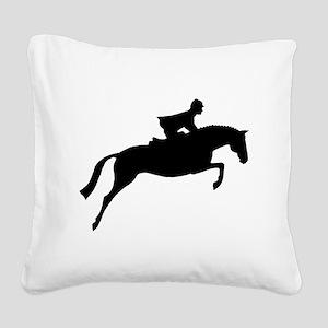 jumper rider white Square Canvas Pillow