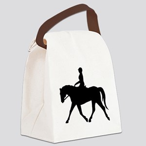 casual horse rider black Canvas Lunch Bag