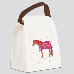 Happy Valentine Horse Canvas Lunch Bag