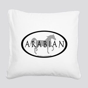 arabian horse oval text grey Square Canvas Pil