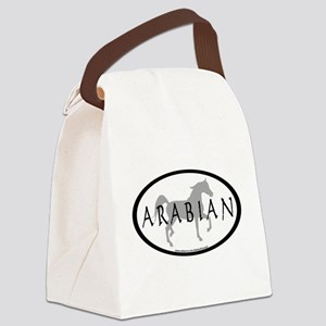 arabian horse oval text grey Canvas Lunch Bag