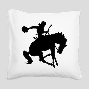 2-cowboy bronc one Square Canvas Pillow
