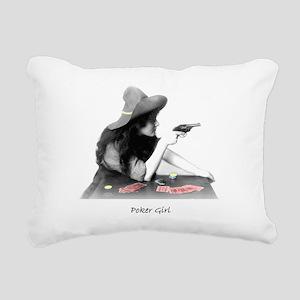 poker girl Rectangular Canvas Pillow