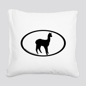 standing alpaca oval Square Canvas Pillow