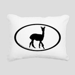 walking alpaca oval Rectangular Canvas Pillow