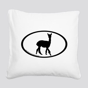 walking alpaca oval Square Canvas Pillow