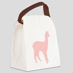 alpaca (2) silhouette br lime Canvas Lunch Bag