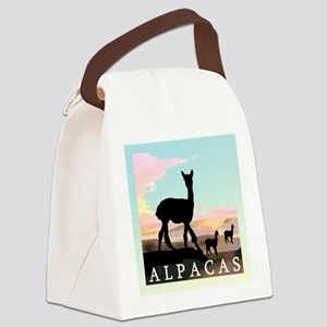 pink sunset alpacas three sq2 Canvas Lunch Bag