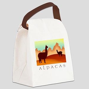 alpacas text mountains Canvas Lunch Bag