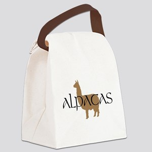alpacas text Canvas Lunch Bag