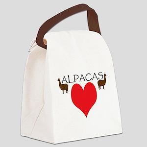 two alpacas heart color Canvas Lunch Bag