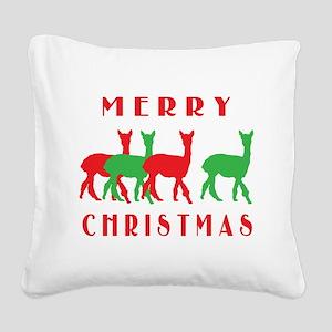 merry christmas alpacas border Square Canvas P