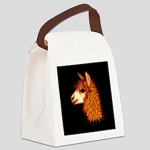 Alpaca (on black) Canvas Lunch Bag