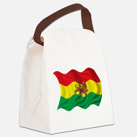 Wavy Ethiopia Flag Canvas Lunch Bag