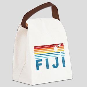 Retro Fiji Palm Tree Canvas Lunch Bag