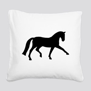 black dressage extended trot tr Square Canvas