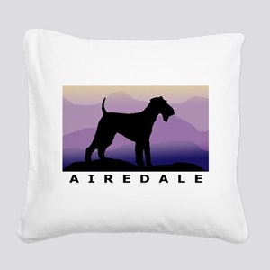 airedale purple mt wdtx Square Canvas Pillow