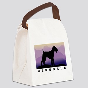 airedale purple mt wdtx Canvas Lunch Bag