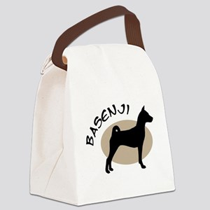 basenji blk taupe Canvas Lunch Bag