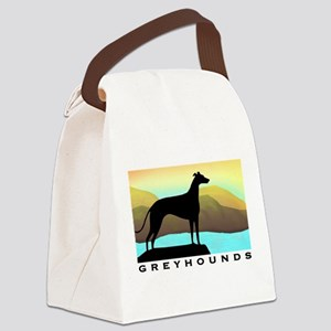 greyhound by the sea wide text Canvas Lunch Ba