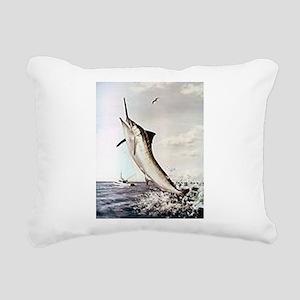 Striped Marlin Rectangular Canvas Pillow