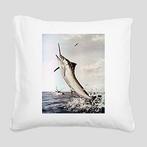 Striped Marlin Square Canvas Pillow