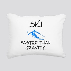 Ski Faster Than Gravity Rectangular Canvas Pillow