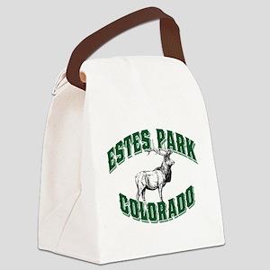 Estes Park Elk Colorado Green Canvas Lunch Bag