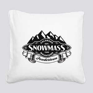 Snowmass Mountain Emblem Square Canvas Pillow